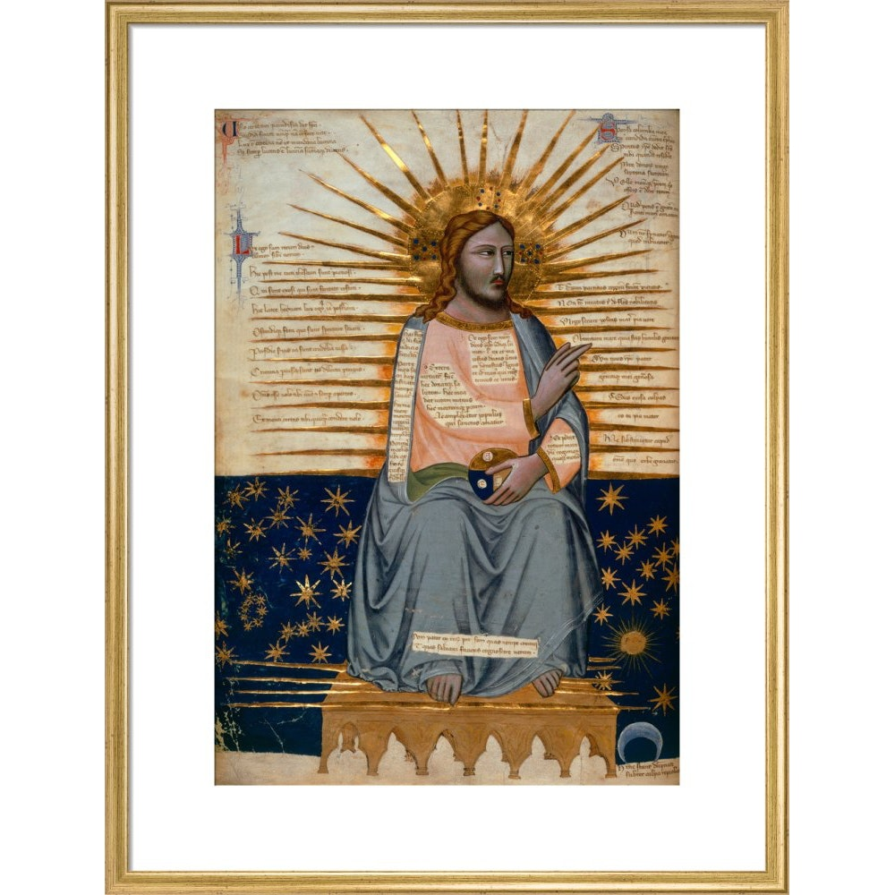 Christ in Heaven print in gold frame