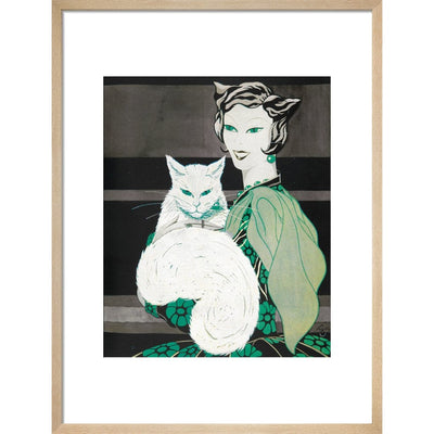 Green-eyed Cat print in natural frame