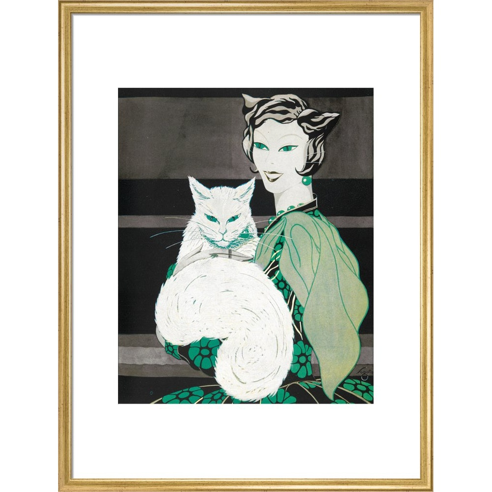 Green-eyed Cat print in gold frame