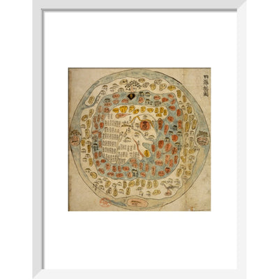 A Korean World Map print in white frame
