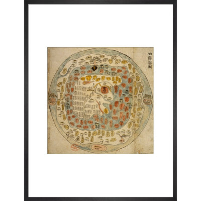 A Korean World Map print in black frame