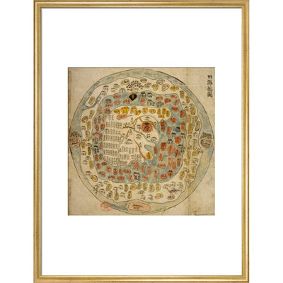 A Korean World Map print in gold frame