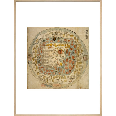 A Korean World Map print in natural frame