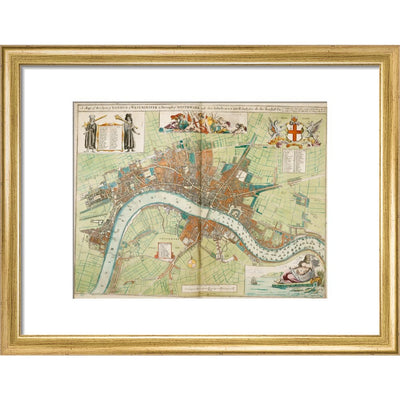 London and Westminster Rebuilt after the Great Fire of London Map print in gold frame
