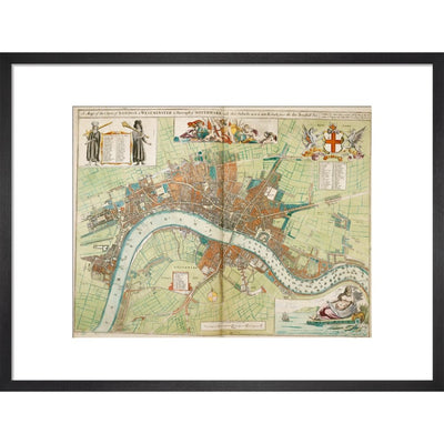 London and Westminster Rebuilt after the Great Fire of London Map print in black frame