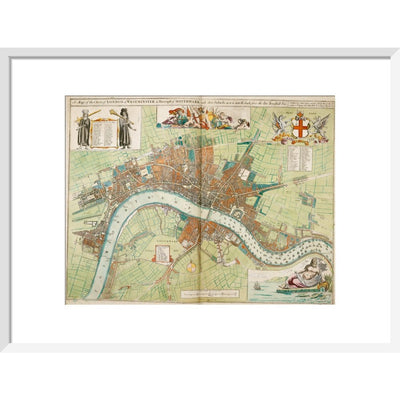 London and Westminster Rebuilt after the Great Fire of London Map print in white frame