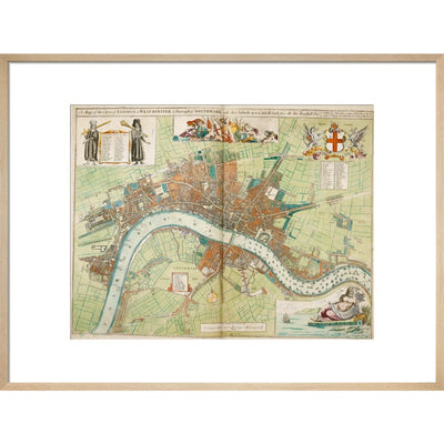 London and Westminster Rebuilt after the Great Fire of London Map print in natural frame