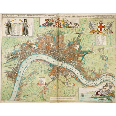 London and Westminster Rebuilt after the Great Fire of London Map print
