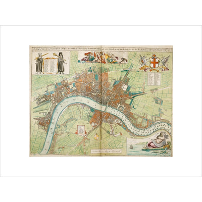 London and Westminster Rebuilt after the Great Fire of London Map print unframed