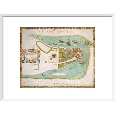 Map of New York or New Amsterdam print in white frame