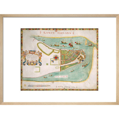 Map of New York or New Amsterdam print in natural frame
