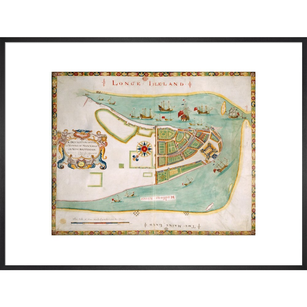 Map of New York or New Amsterdam print in black print