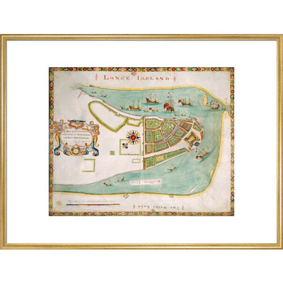Map of New York or New Amsterdam print in gold frame