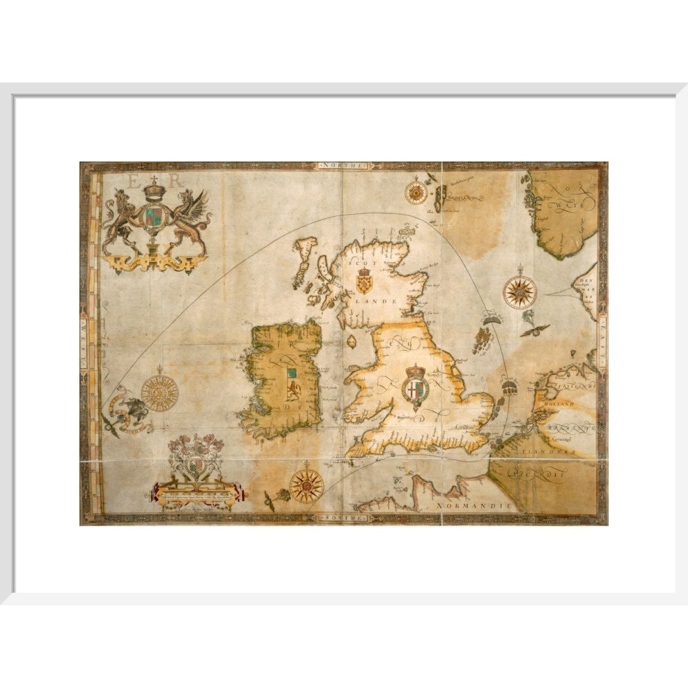 Map of the Spanish Armada and the British Isles print