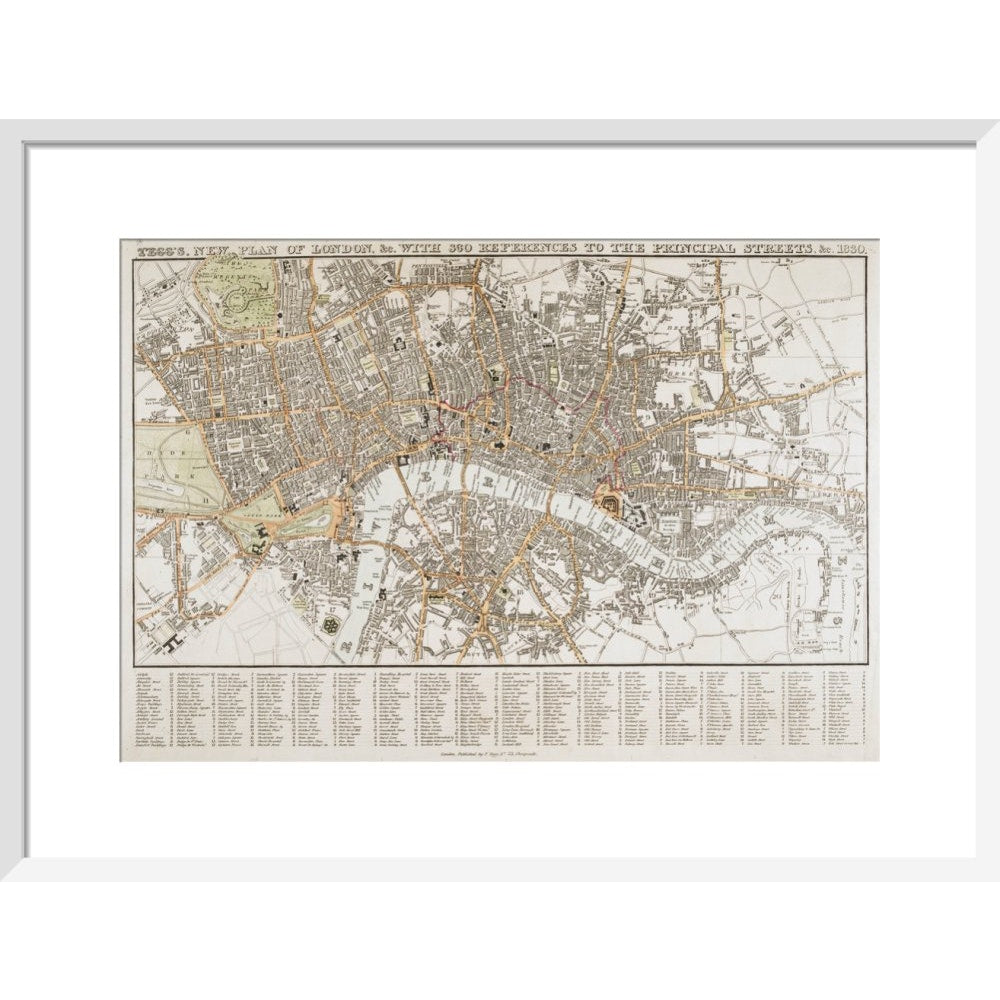 Plan of London print in white frame