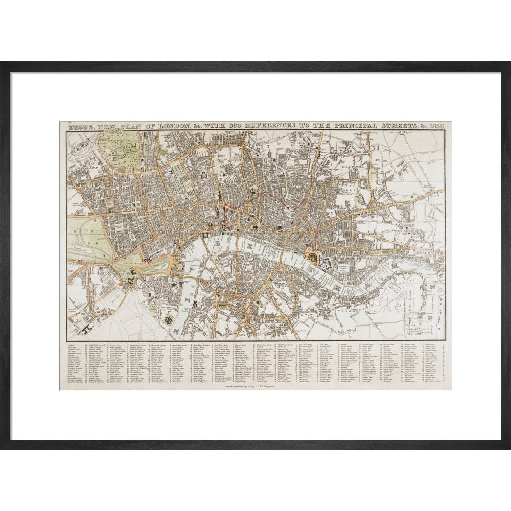Plan of London print in black frame
