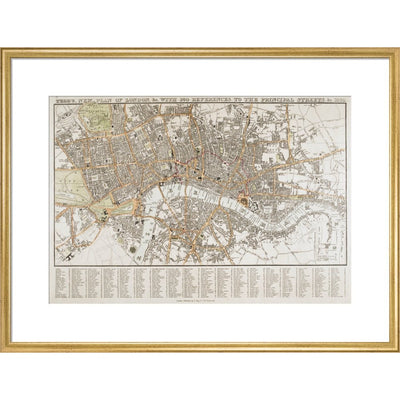 Plan of London print in gold frame