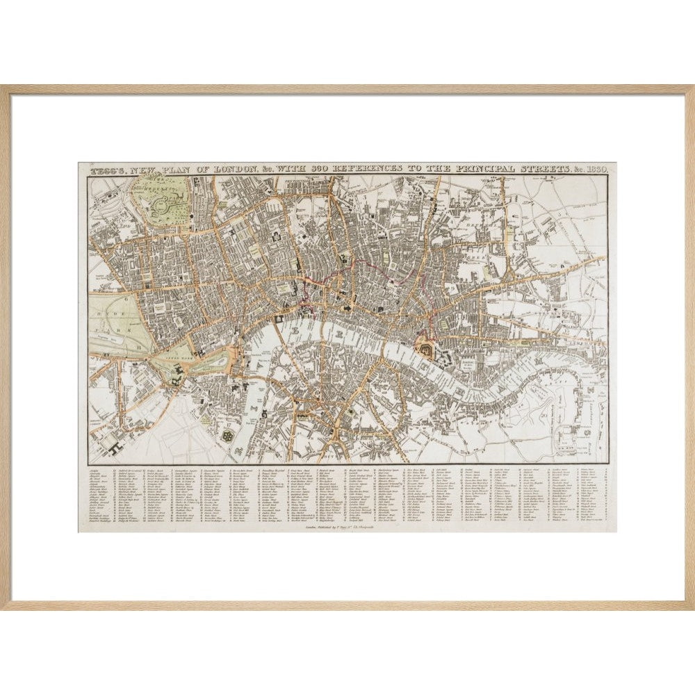 Plan of London print in natural frame