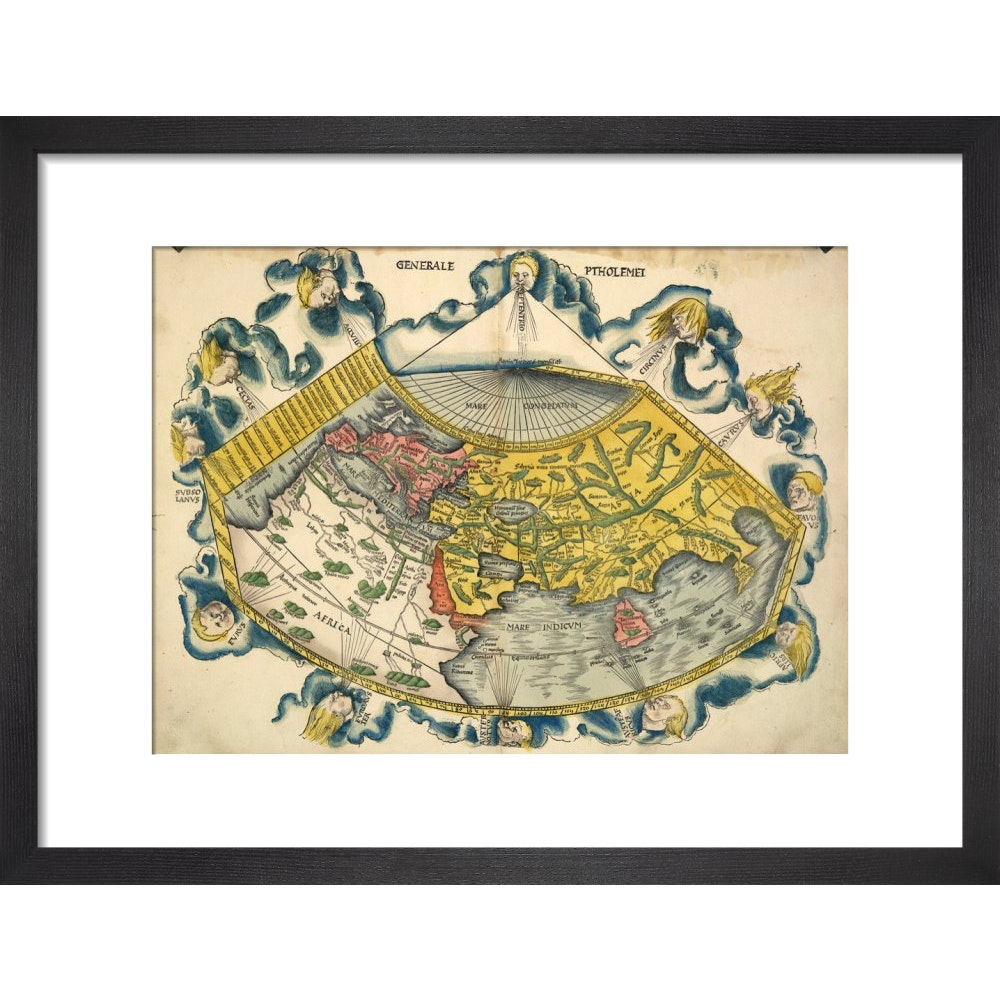 Ptolemic World Map print in black frame