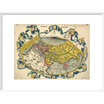 Ptolemic World Map print in white frame