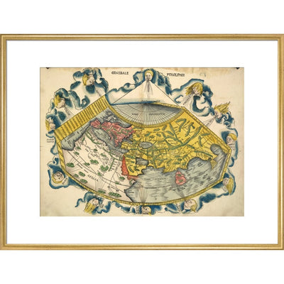 Ptolemic World Map print in gold frame