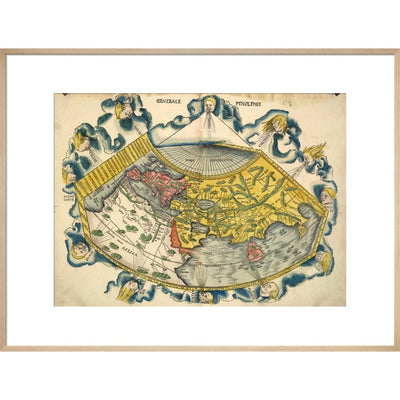 Ptolemic World Map print in natural frame
