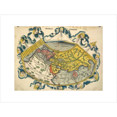 Ptolemic World Map print unframed