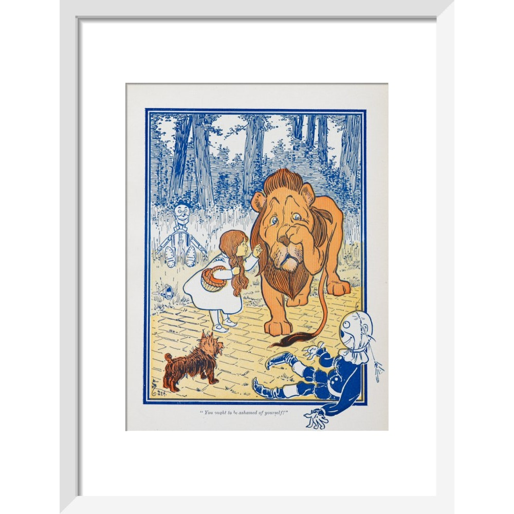 The Cowardly Lion print in white frame
