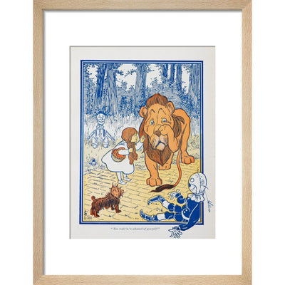 The Cowardly Lion print in natural frame