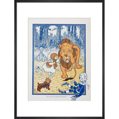 The Cowardly Lion print in black frame