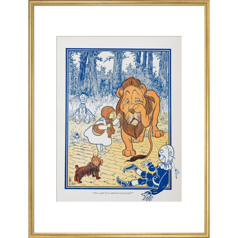 The Cowardly Lion print in gold frame