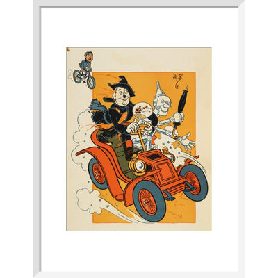 The Scarecrow and Tin-man Driving print in white frame