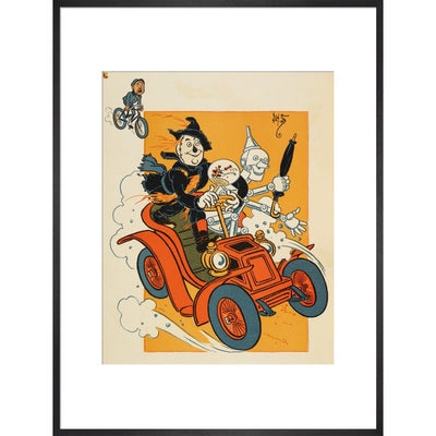 The Scarecrow and Tin-man Driving print in black frame