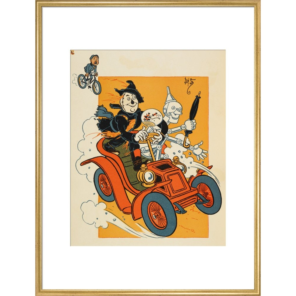 The Scarecrow and Tin-man Driving print in gold frame