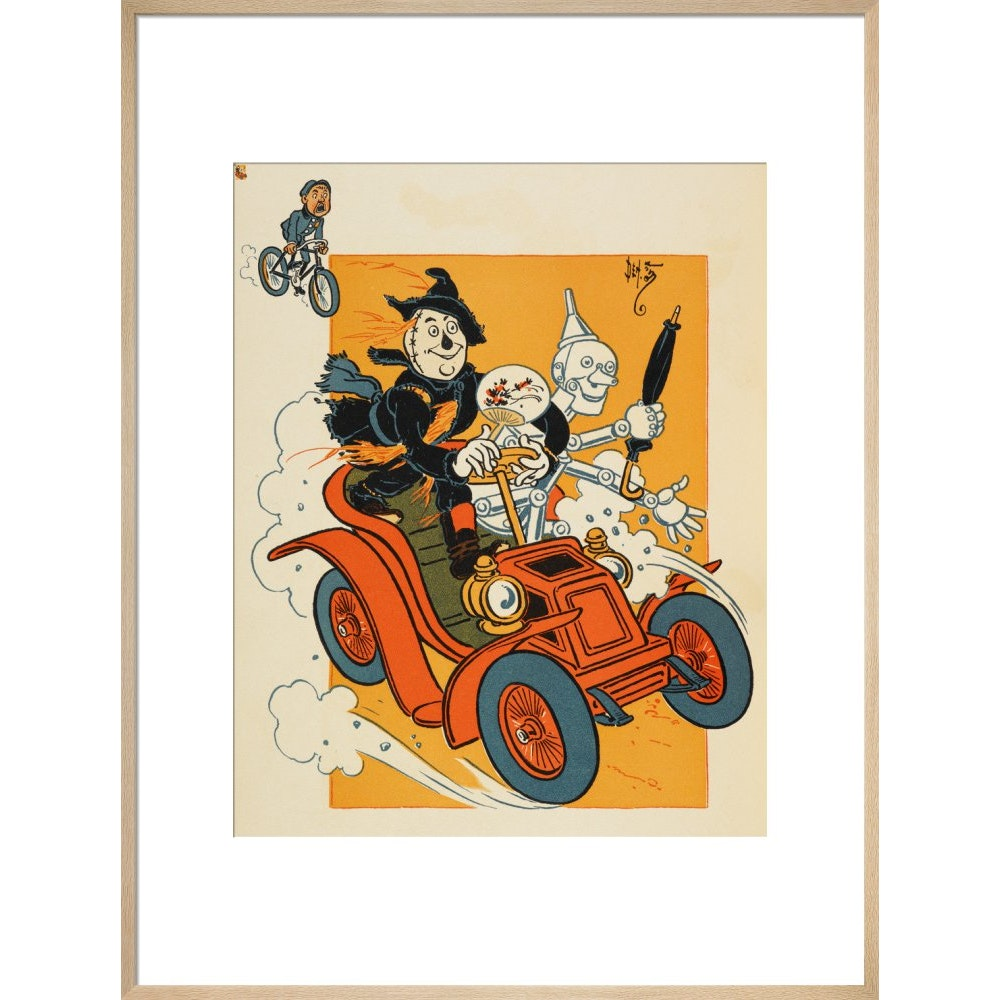 The Scarecrow and Tin-man Driving print in natural frame