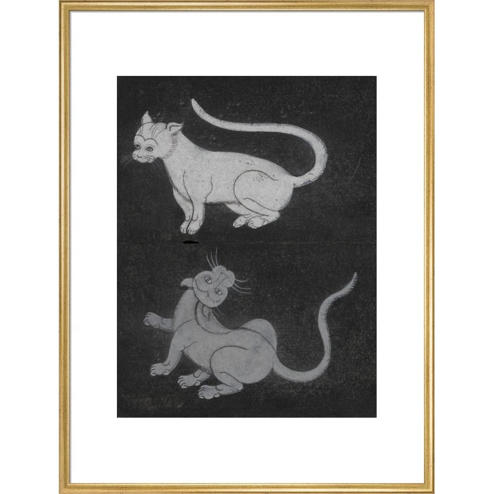 Thai cats print in gold frame