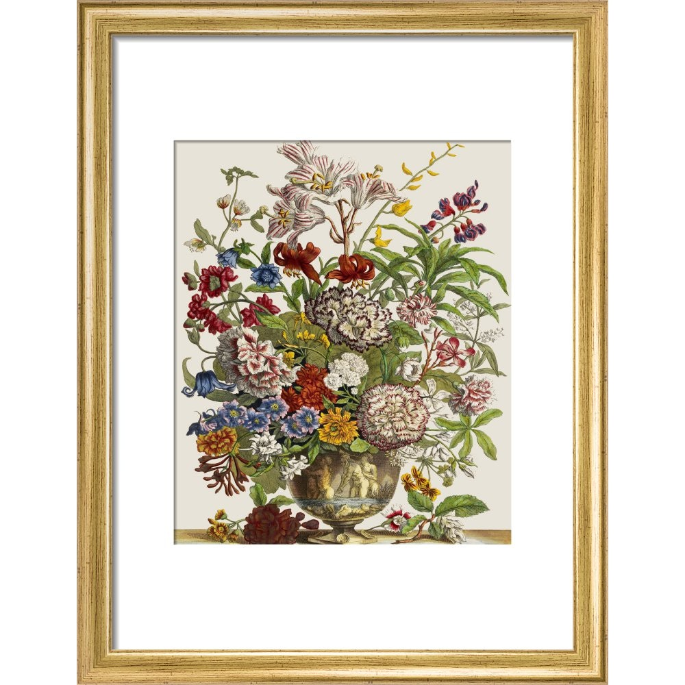 Flowers in a vase print in gold frame