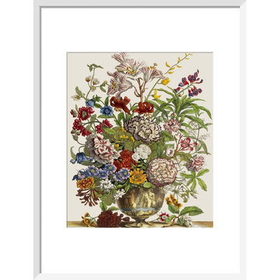 Flowers in a vase print in white frame