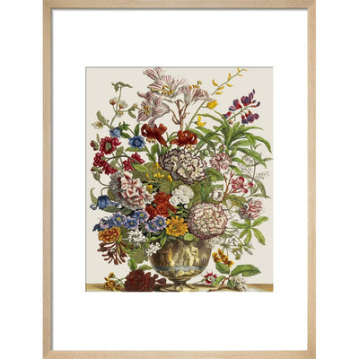 Flowers in a vase print in natural frame