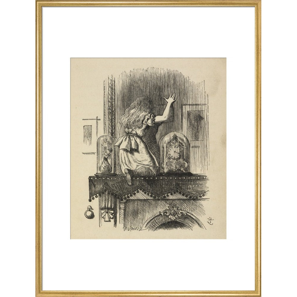 Through the looking-glass, and what Alice found there print in gold frame