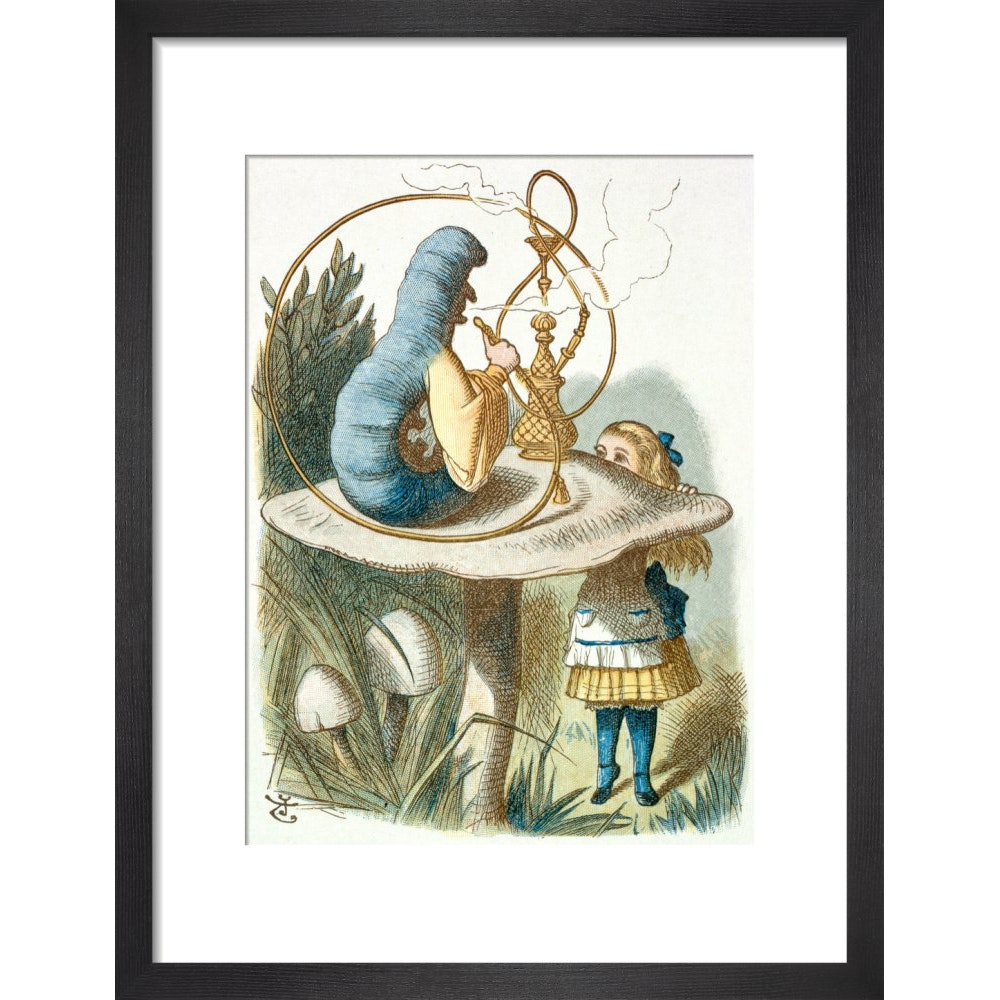 Alice meets the blue caterpillar print in black frame