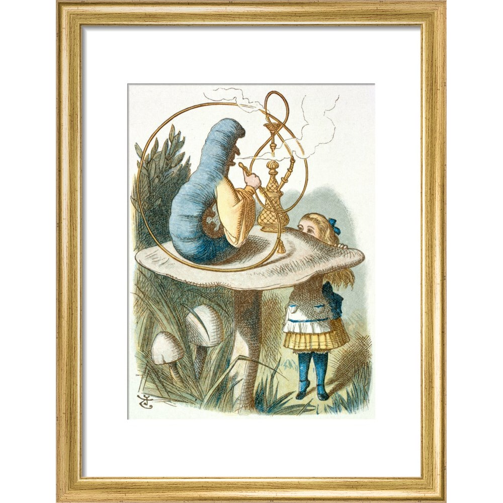 Alice meets the blue caterpillar print in gold frame