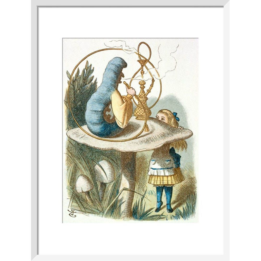 Alice meets the blue caterpillar print in white frame