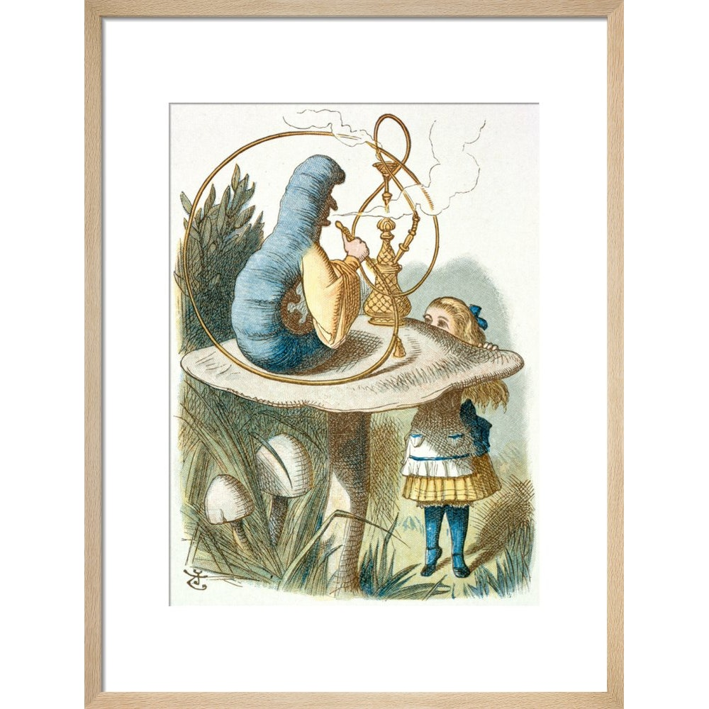 Alice meets the blue caterpillar print in natural frame