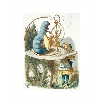 Alice meets the blue caterpillar print unframed