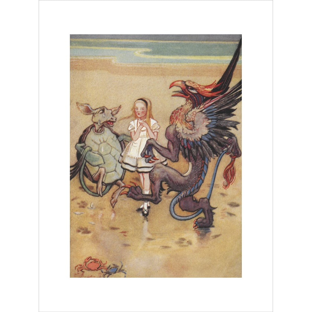 Alice dancing with the mock turtle and gryphon print