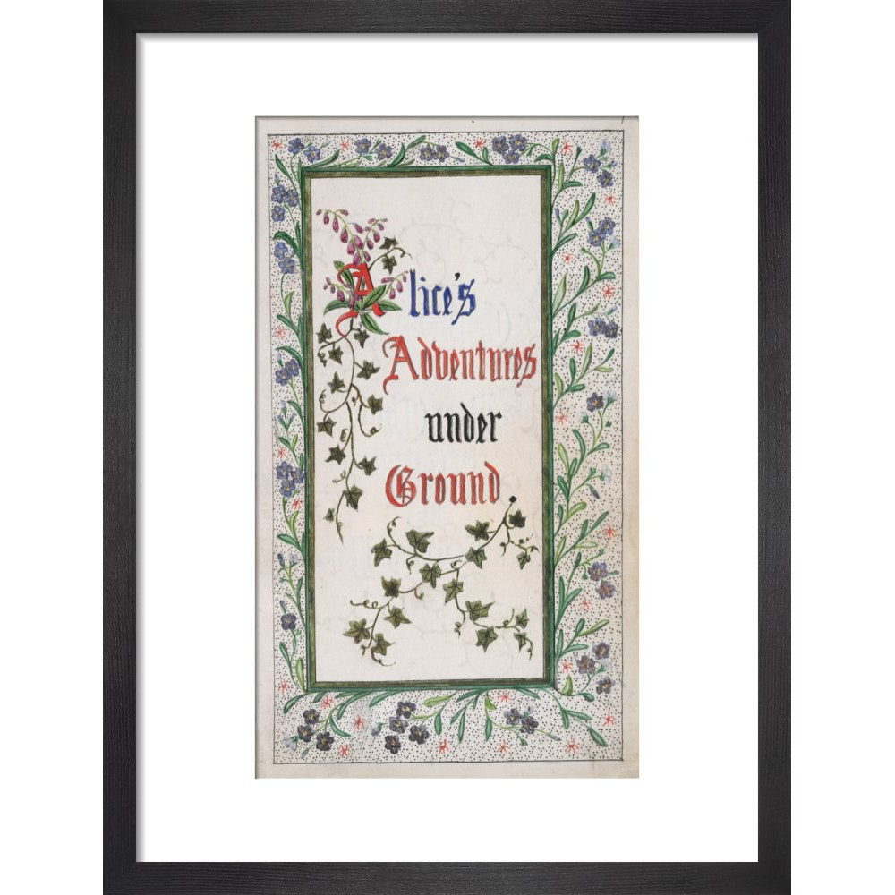 Alice's Adventures Under Ground title page print in black frame