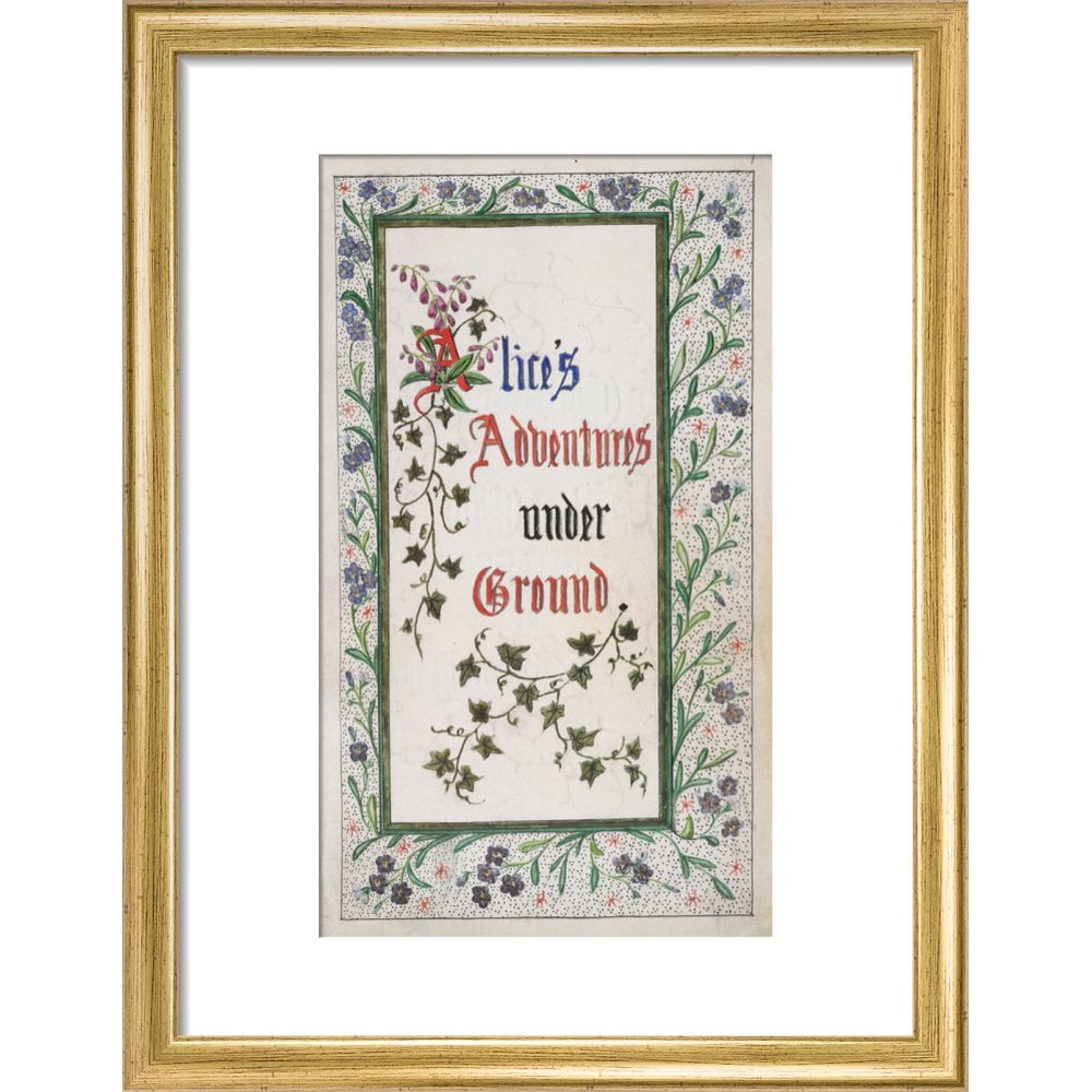 Alice's Adventures Under Ground title page print in gold frame