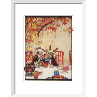 The Mad Hatter's Tea party print in white frame