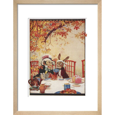 The Mad Hatter's Tea party print in natural frame
